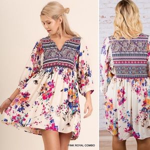 Umgee USA Clair Boho Floral Peasant Dress Sz 1XL